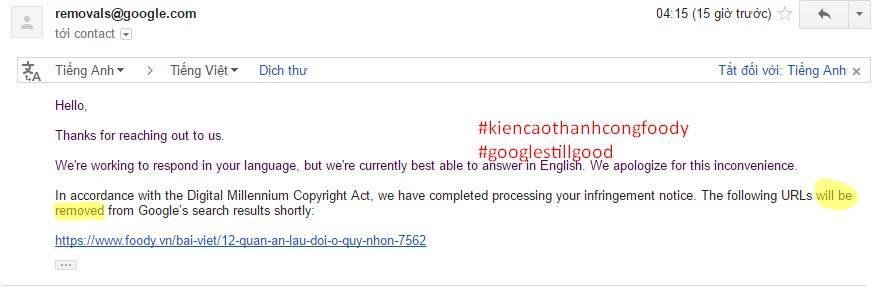 Tình trạng đã được Google xử lý trong vòng 2 tiếng.