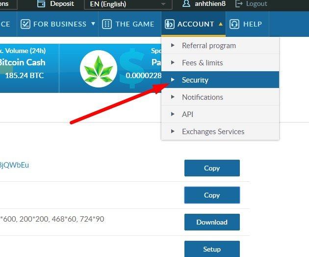 Bảo Mật tài khoản LiveCoin