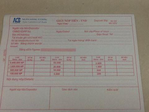 Giấy Nộp Tiền vào Visa Debit của ACB