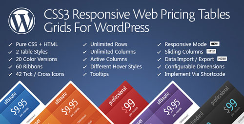 [WordPress Plugin] CSS3 Responsive Web Pricing Tables Grids