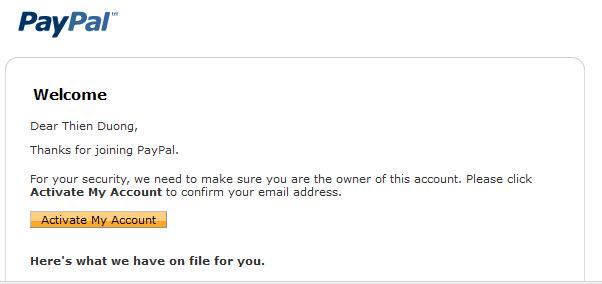 và click nút Active Tài Khoản Paypal