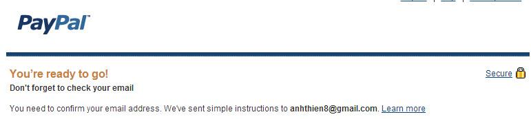 Bạn vào Inbox check email từ Paypal gửi tới...