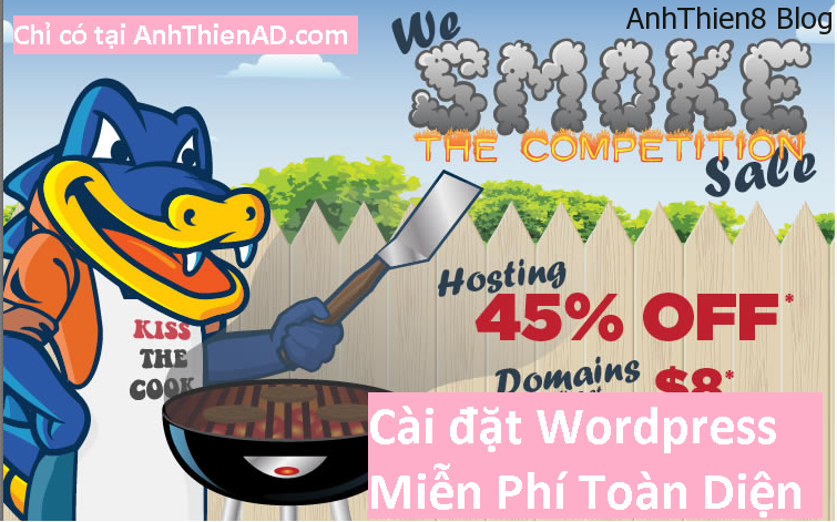 chi hom nay hostgator giam gia 45 cai dat wordpress mien phi