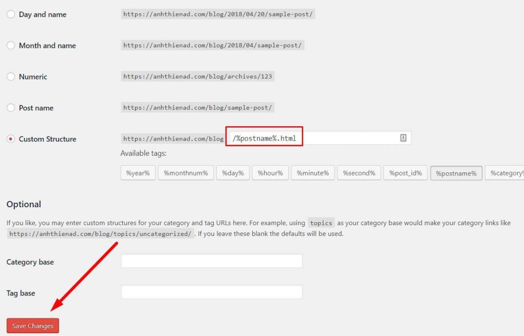 Thiết lập tối ưu hóa link bài viết trong WordPress