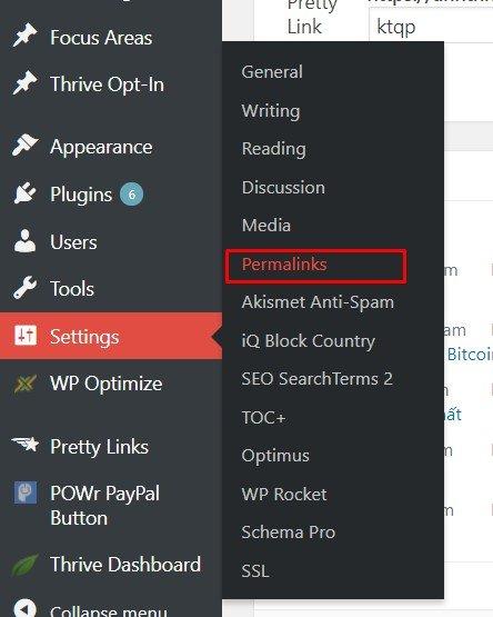 Trong mục Setting bấm chọn Permentlinks