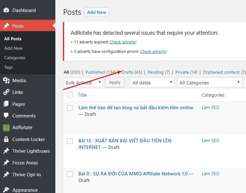 Hình ảnh về nơi lưu trữ các bản nháp Draft của WordPress