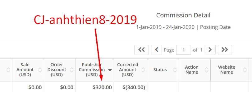 Thu nhập từ CJ Network trong năm 2019
