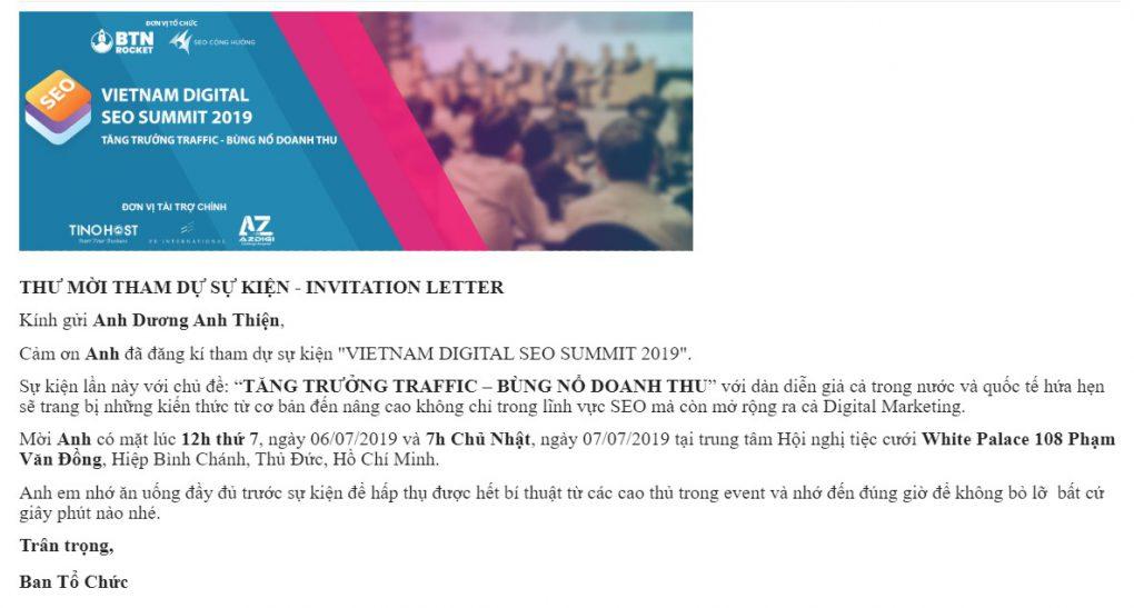 Thư mời tham gia sự kiện Vietnam SEO Summit 2019 khá lớn.