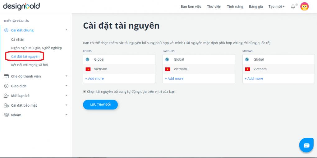 Cài đặt tài nguyên tiếng Việt trên DesignBold
