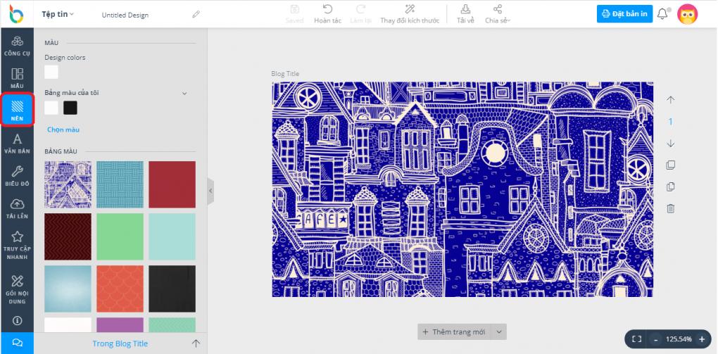 Chọn hình nền có sẵn trên DesignBold