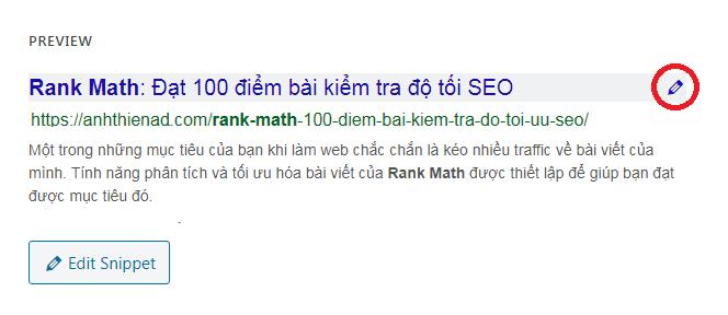 Chỉnh sửa tiêu đề với Edit Snippet của Rank Math