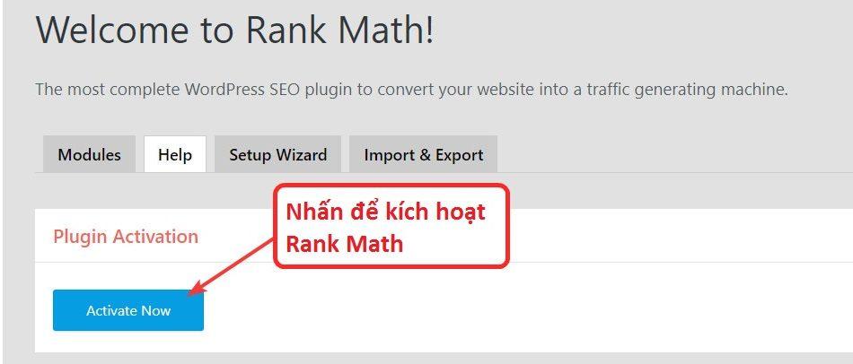 Kích hoạt tài khoản Rank Math