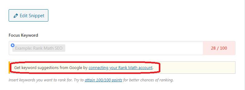 Kết nối với tài khoản Rank Math