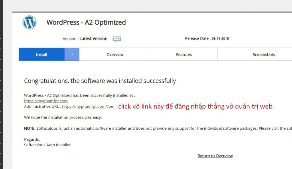 Bạn click vô link admin để vào phần quản trị website.