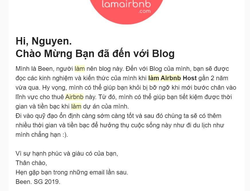 Email chào mừng trong dự án lamairbnb.com
