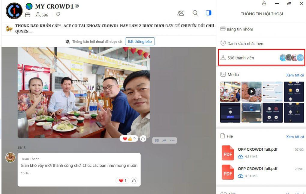 Group chia sẻ tư duy phát triển dự án Crowd1 tại Việt Nam dành cho những thành viên đạt mức thu nhập $500/tháng